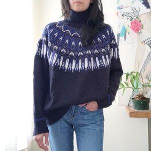 H&M wool/alpaca blend fairisle turtleneck sweater